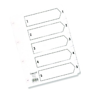 Classic Index 1-5 A5 White Board With Clear Mylar Tabs 07001/Cs