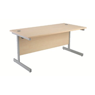 Maple/Silver 1400mm Rectangular Cantilever Desk