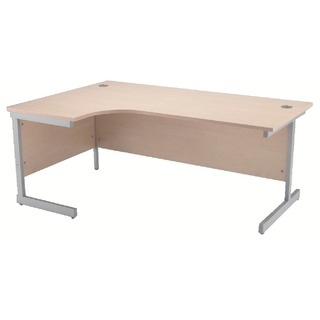 Maple/Silver 1600mm Left Hand Radial Cantilever Desk