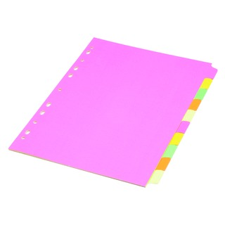 Fluorescent A4 10-Part Subject Divider 89199/