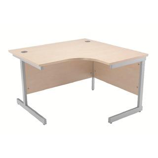 Maple/Silver 1200mm Right Hand Radial Cantilever Desk