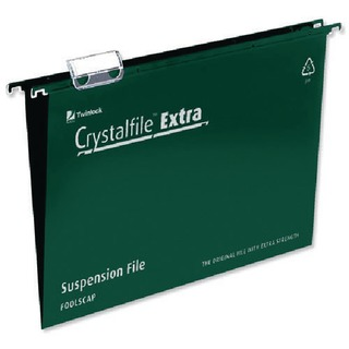 Crystalfile Extra Suspension File Foolscap Green (25 Pack)