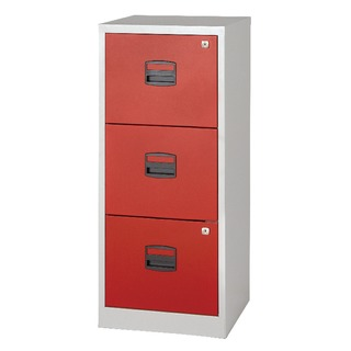A4 Homefiler 3 Drawer Grey Red
