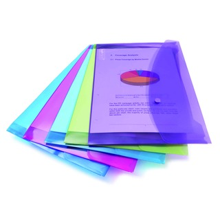 Foolscap Assorted Popper Wallet (5 Pack) 0688