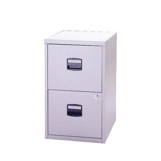 2 Drawer Lockable Grey A4 Personal Filing Cabinet