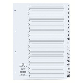 Classic Index 1-20 A4 White Board With Clear Mylar Tabs 00701/