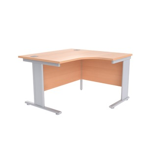 Beech/Silver 1200mm Right Hand Radial Cantilever Desk KF838042