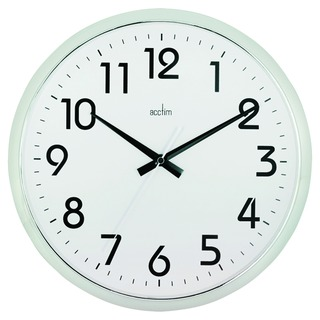 Chrome/White Orion Silent Sweep Wall Clock 320mm