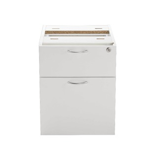 2 Drawer Fixed Pedestal White