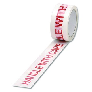 White/Red Polypropylene Tape Printed Handle With Care 50mm x 66m (6 Pack) 70581500