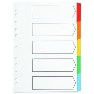 Index A4 Multi-Punched 5-Part Reinforced Multi-Colour Blank Tabs