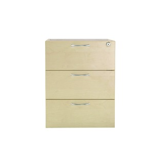 Maple 3 Drawer Fixed Pedestal
