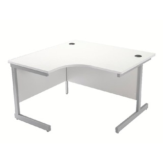 White/Silver 1200mm Left Hand Cantilever Radial Desk