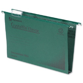 Crystalfile Classic Suspension File Complete 30mm Foolscap Green (50 Pack)