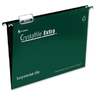Crystalfile Extra Suspension A4 File Green (25 Pack)
