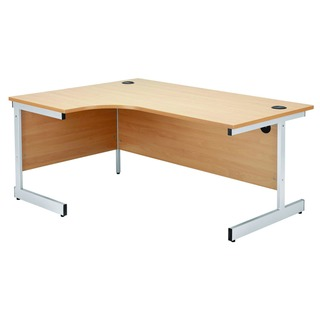 Beech/Silver 1600mm Left Hand Radial Cantilever Desk