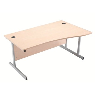 Maple/Silver 1600mm Right Hand Cantilever Wave Desk