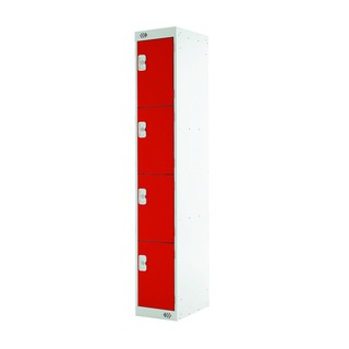 Express Standard Locker Four Compartments Red 300mm Deep