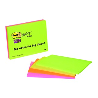 Post-it Meeting Notes Super Sticky Neon Assorted 200 x 149mm (4 Pack) 6845-SSP