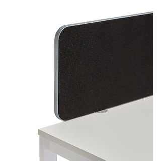 Silver Trim Black 1800mm Straight Rounded Corner Screen