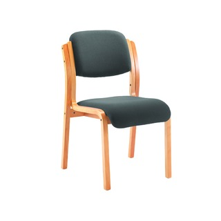 Wood Reception Side Chair No Arms Charcoal