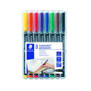 Lumocolor Assorted Fine Tip Permanent OHP Pen (8 Pack) 318-WP8
