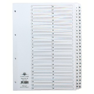 Classic Index 1-50 A4 White Board With Clear Mylar Tabs 05501/Cs