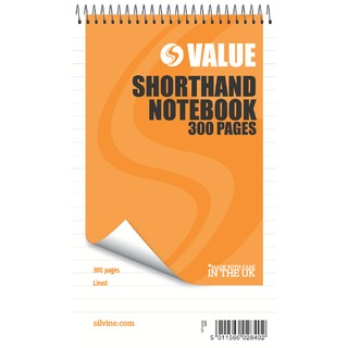 Spiral Bound Shorthand Notebook 127x203mm 150 Leaf Ruled Feint (6 Pack) 449