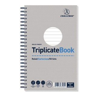 Wirebound Triplicate Book Ruled Carbonless 50 Sets 210 x 130mm (5 Pack) 100080512