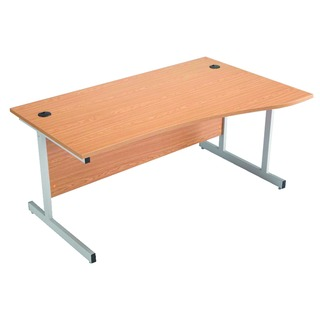 Beech/Silver 1600mm Right Hand Cantilever Wave Desk