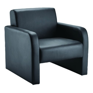 Flat Pack Leather Look Black Reception Chair