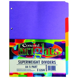 Bright A4 Divider Heavy-weight 5-Part Assorted 52599/