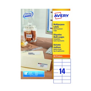 Multipurpose White Labels 14 Per Sheet 105 x 42.3mm (1400 Pack) 36