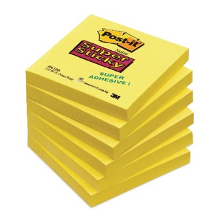Post-it 76 x 76mm Yellow Super Sticky Notes (6 Pack) 654-S6