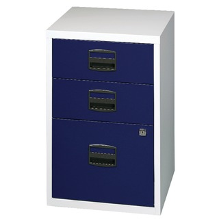 A4 Home Filer 3 Drawer Lockable Grey and Blue