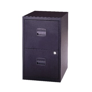 2 Drawer Lockable Black A4 Personal Filing Cabinet