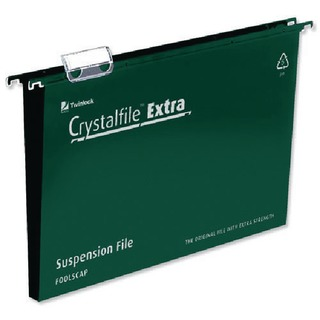CrystalFile Extra Suspension A4 File Green 30mm (25 Pack)