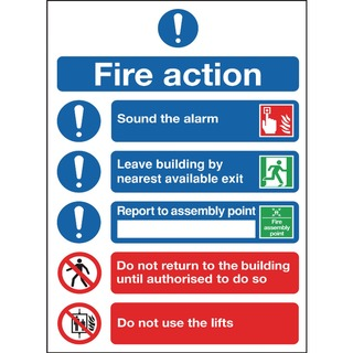 fety Sign Fire Action Symbols A4 PVC FR0995