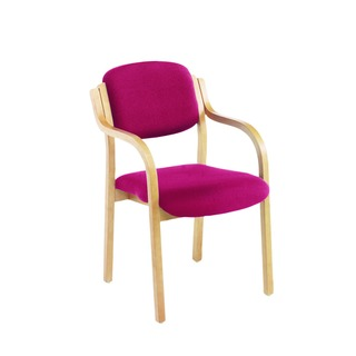 Wood Frame Side Claret Chair With Arms