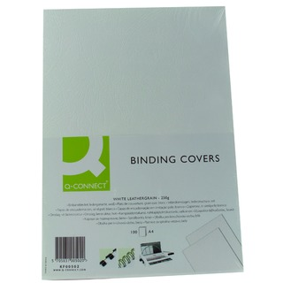 A4 White Leathergrain Comb Binder Cover (100 Pack)