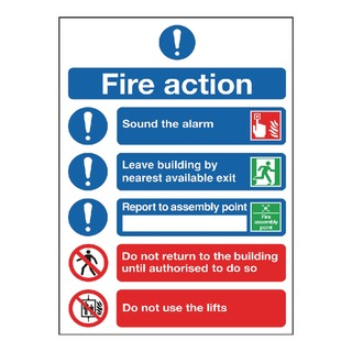 fety Sign Fire Action Symbol A5 FR099A5