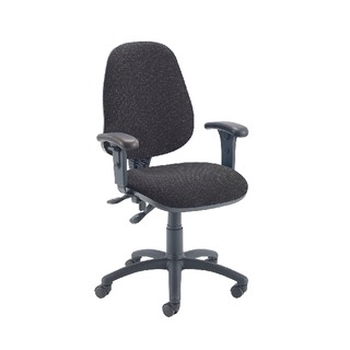 High Back Operators Chair Charcoal with Adjustable Arms