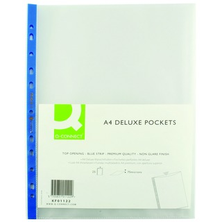 Punched Pocket A4 Deluxe Top Opening Blue Strip (25 Pack)