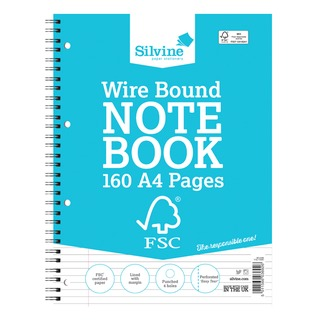 A4 Twin Wire Notebook 160 Pages Ruled With Margin (5 Pack) FSCTW80