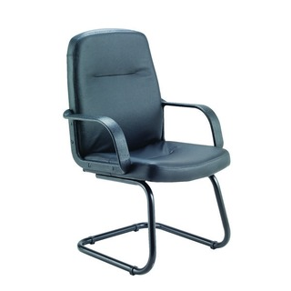 Rhone Black Leather Look Visitor Chair Cantilever Legs