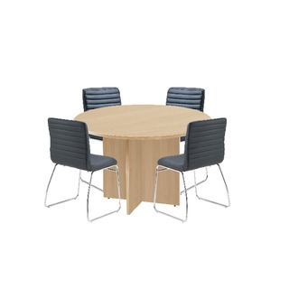 Maple 1200mm Diameter Round Meeting Table with Dart Meeting Chairs
