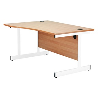 Beech/White 1600mm Right Hand Wave Cantilever Desk