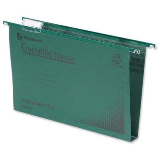 Crystalfile Classic Suspension File Complete 50mm Foolscap Green (50 Pack)
