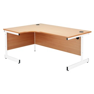 Beech/White 1200mm Right Hand Radial Cantilever Desk