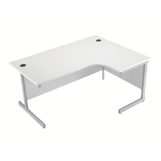 White/Silver 1600mm Right Hand Cantilever Radial Desk